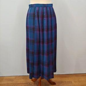 Vintage PENDLETON Blue Plaid Pleated Wool Skirt 10